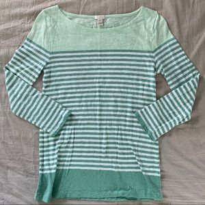 J. CREW Green and White Stripes Long Sleeve Shirt